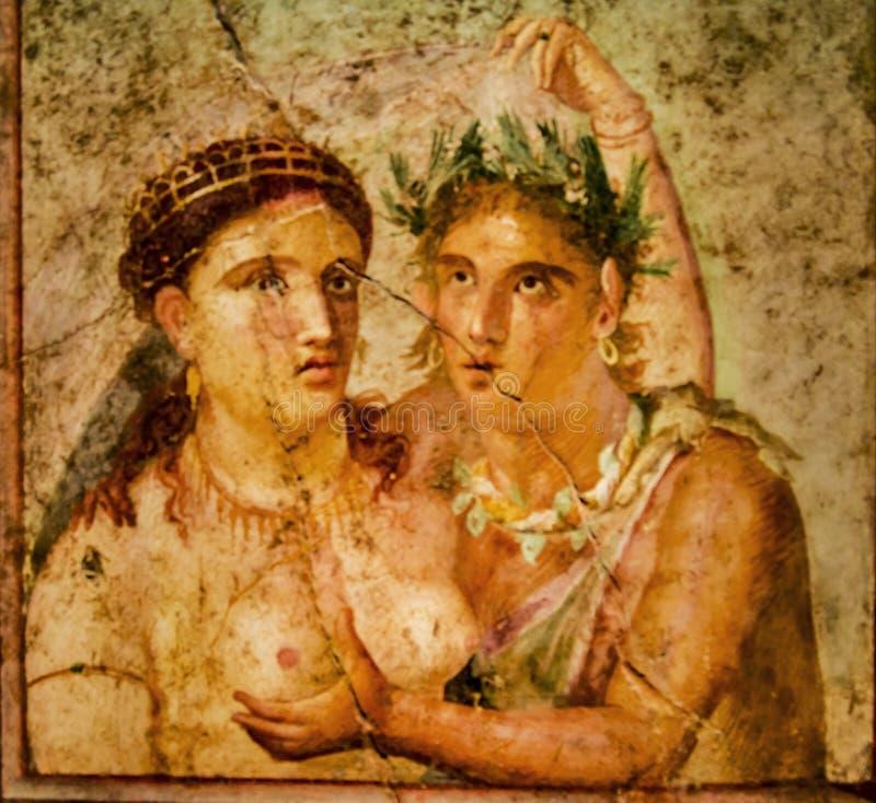 Roman fresko van Pompei stock foto
