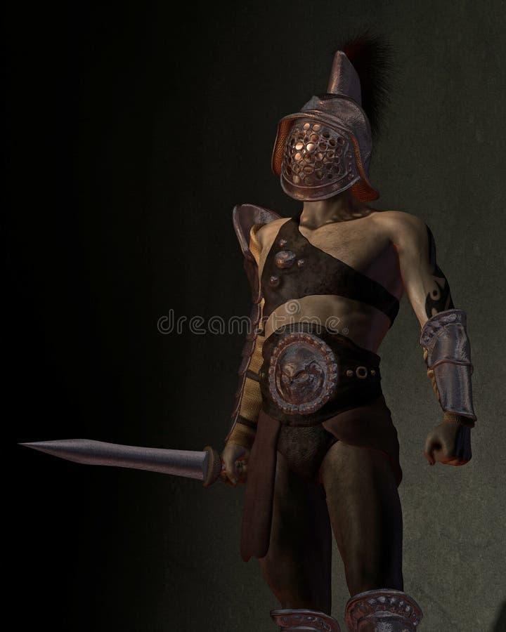 Roman Gladiator in den Schatten vektor abbildung