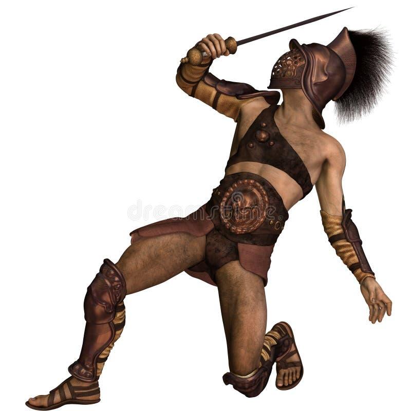 Roman Gladiator - Murmillo tippen defensive Haltung ein lizenzfreie abbildung