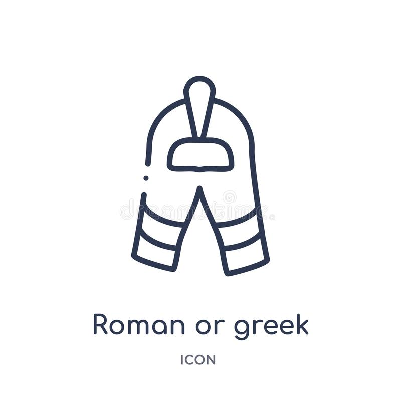 Roman or greek helmet icon from museum outline collection. Thin line roman or greek helmet icon isolated on white background stock illustration