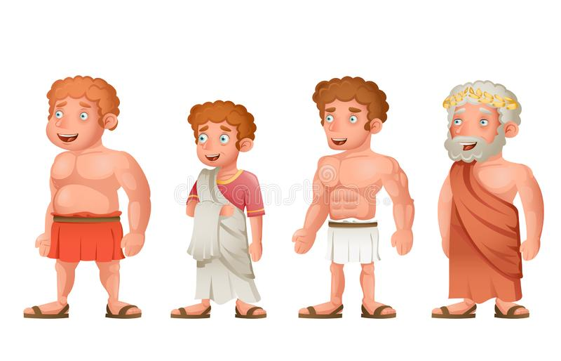 Roman greek old young strong fat toga loincloth characters set cartoon design vector illustration stock illustration