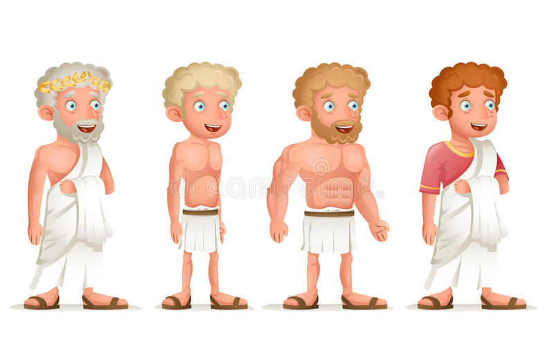 Roman Greek Retro Vintage Old Young Toga Loincloth Characters Icon Set Cartoon Design Vector Illustration stock illustration