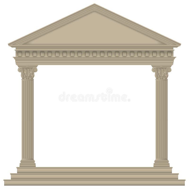 Roman/Greek Temple. With Corinthian columns, high detailed royalty free illustration