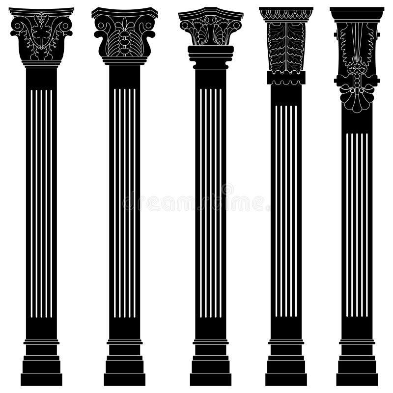roman grekisk gammal pelare för forntida antikvitetbågekolonn vektor illustrationer