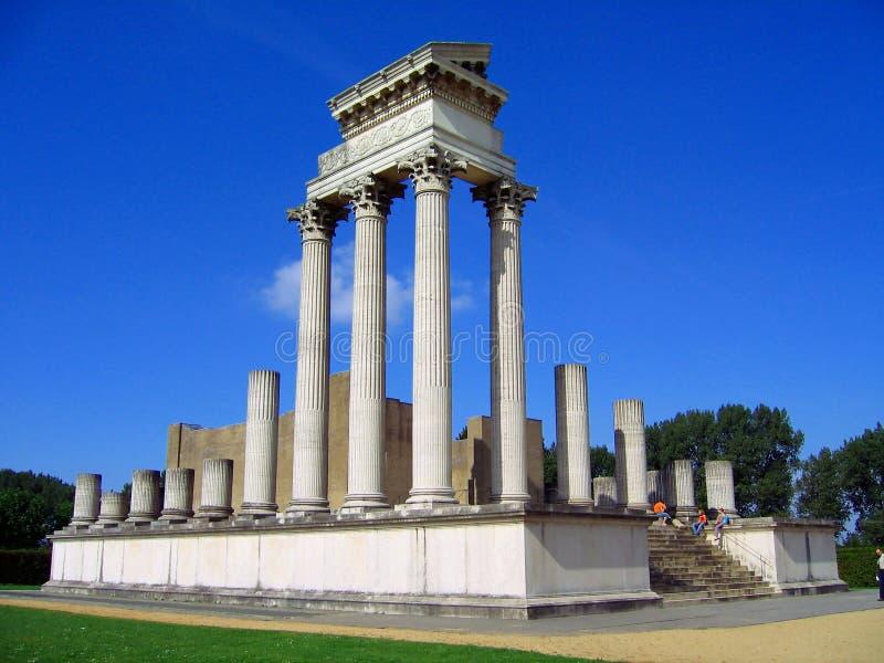 Roman Harbour Temple på det arkeologiskt parkerar i Xanten, norr Rhen-Westphalia, Tyskland arkivfoton