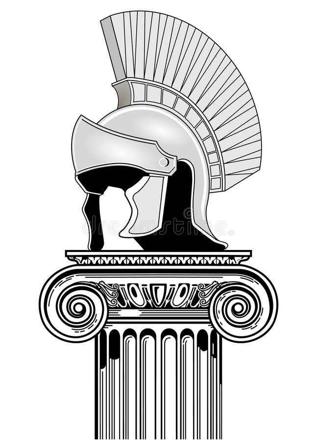 Download Roman helmet, column stock vector. Illustration of garrison - 14404982