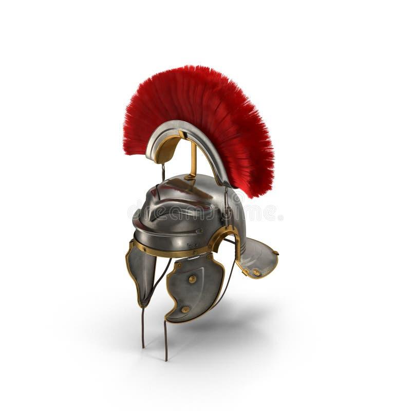 Roman Helmet com crista vermelha no branco ilustração 3D ilustração stock