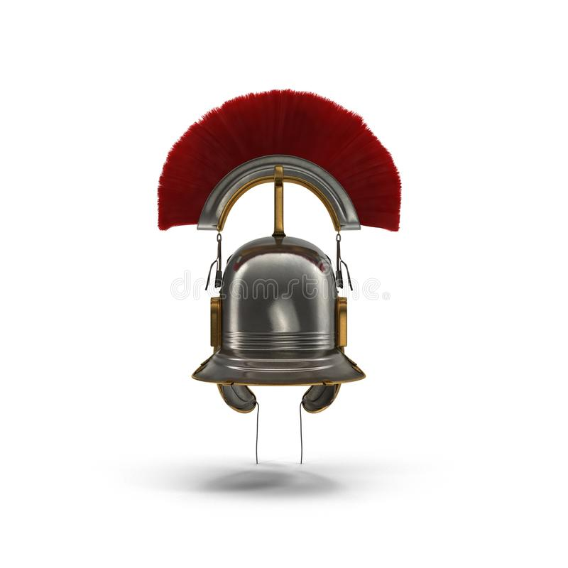 Roman Helmet com crista vermelha no branco ilustração 3D ilustração do vetor