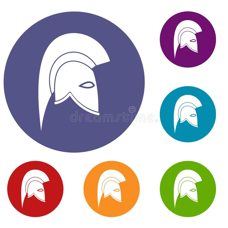 Roman helmet icons set. In flat circle reb, blue and green color for web stock illustration