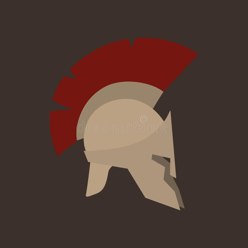 Roman Helmet Isolated. Antiques Roman or Greek Helmet Isolated, Helmet with a Dark Red Crest of Feathers or Horsehair with Slits for the Eyes and Mouth, Vector royalty free illustration