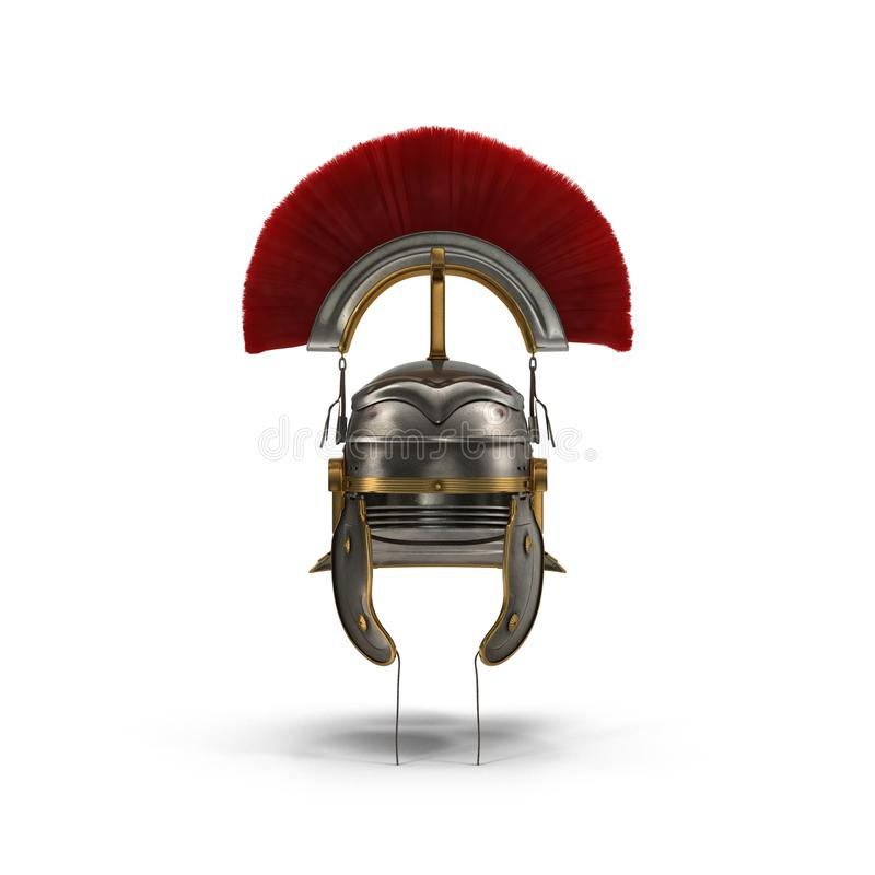 Roman Helmet with Red Crest on white. Front view. 3D illustration royalty free illustration
