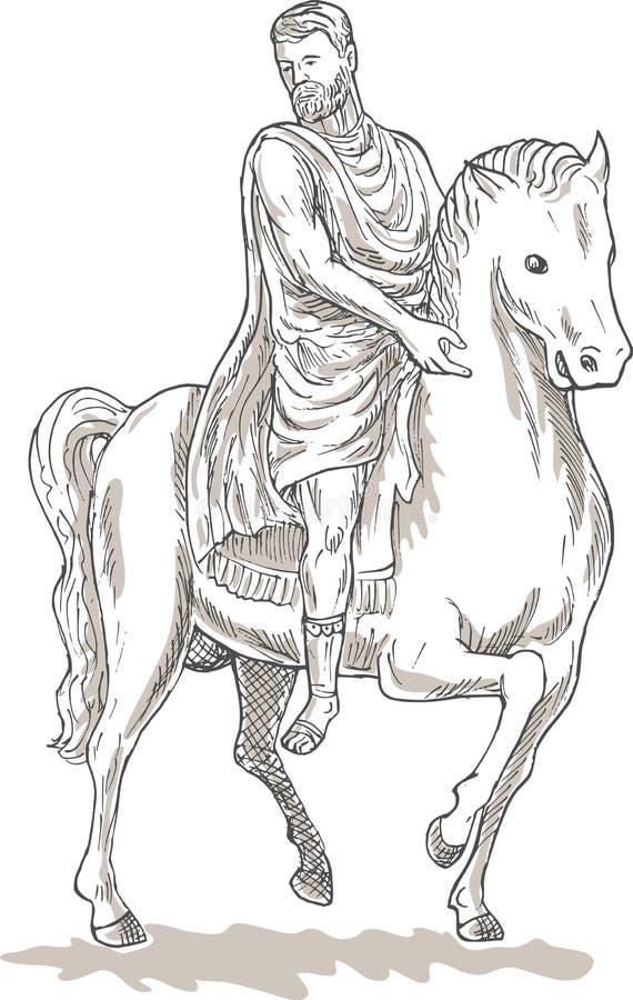 Roman keizer algemeen paard stock illustratie