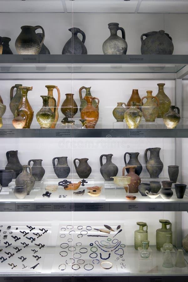 Roman keramiek in Aquincum royalty-vrije stock afbeeldingen