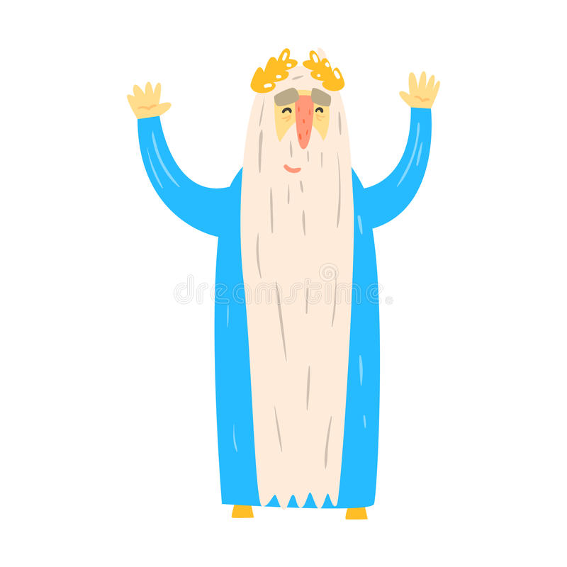 Roman King In Blue Mantle idoso com caráter de Laurel Wreath Fairy-Tale Cartoon Childish ilustração royalty free