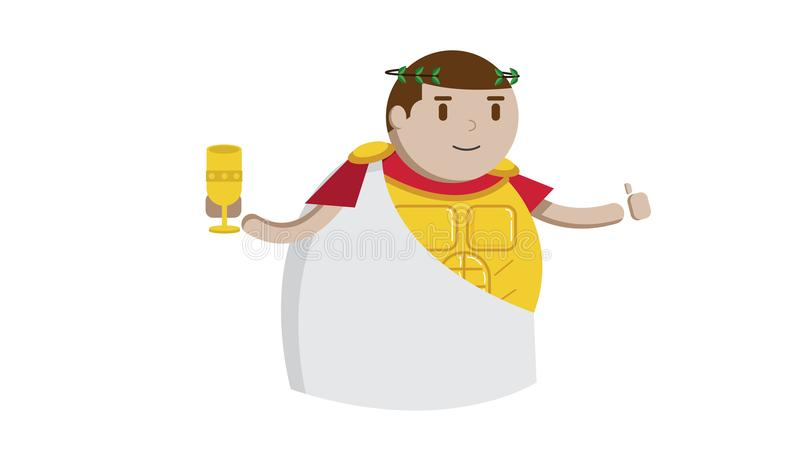 Roman king and golden grail. Roman king with gold grail and gold armor in white back ground vector illustration
