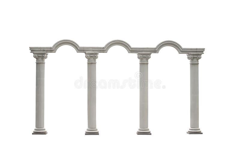 Roman kolommenpoort op wit met het Knippen van Weg wordt geïsoleerd die stock foto
