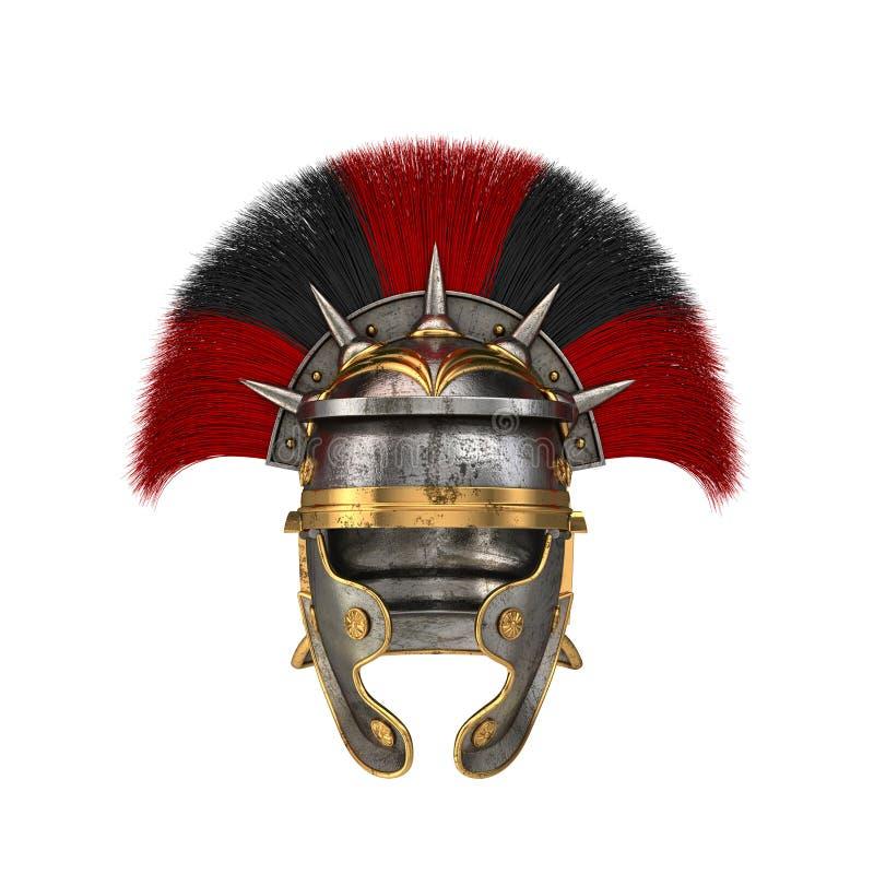Roman legionairhelm op een geïsoleerde witte achtergrond 3D Illustratie stock fotografie