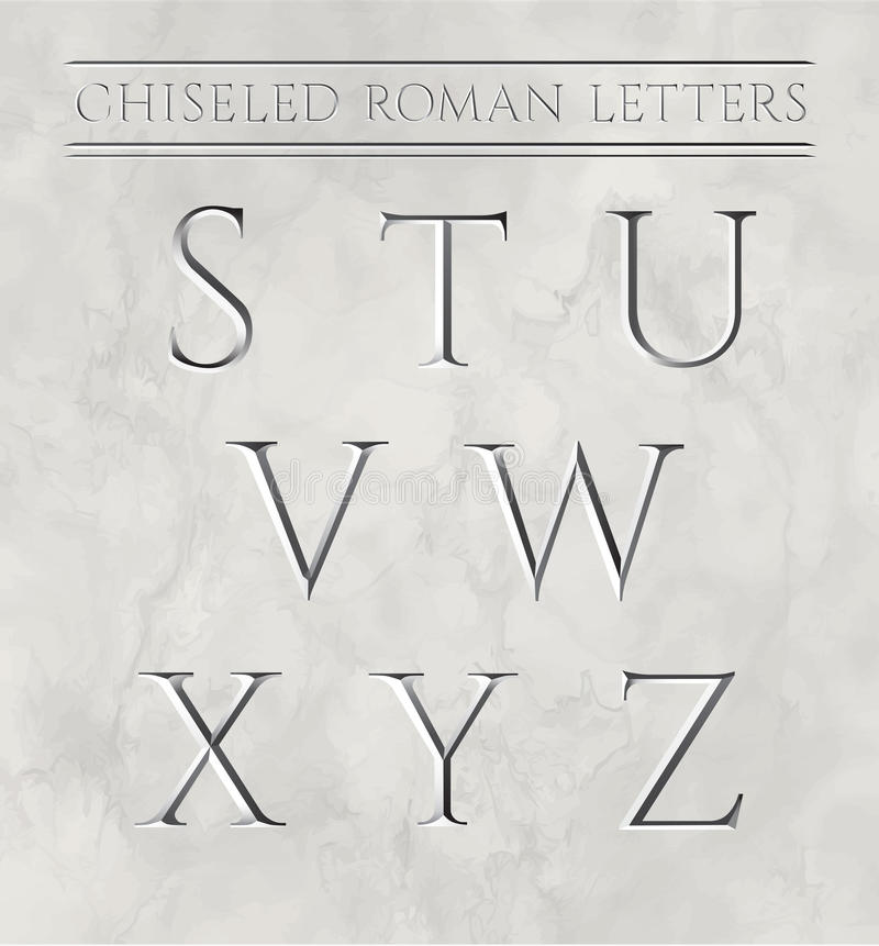 Roman Letters Chiseled In Marble Stone. Stock Vector - Illustration ...