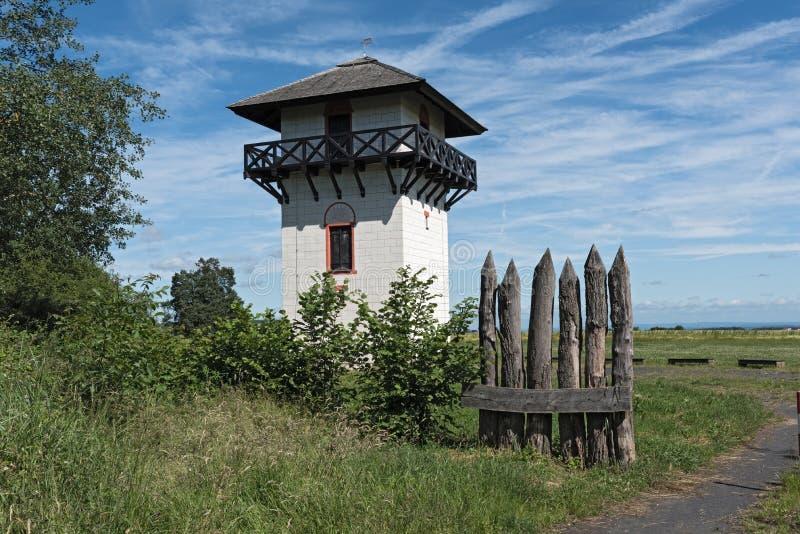 Roman Limes Watch Tower near Idstein-Dasbach, Hesse, Germany.  stock image