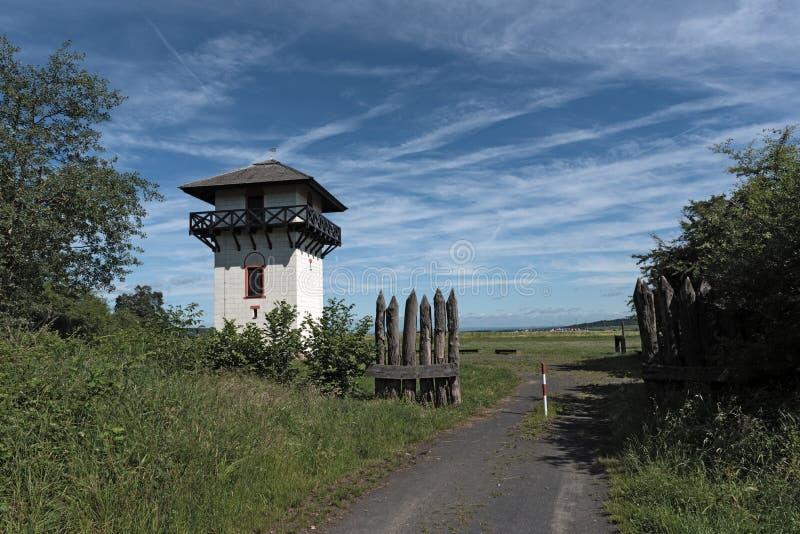 Roman Limes Watch Tower near Idstein-Dasbach, Hesse, Germany.  stock photo