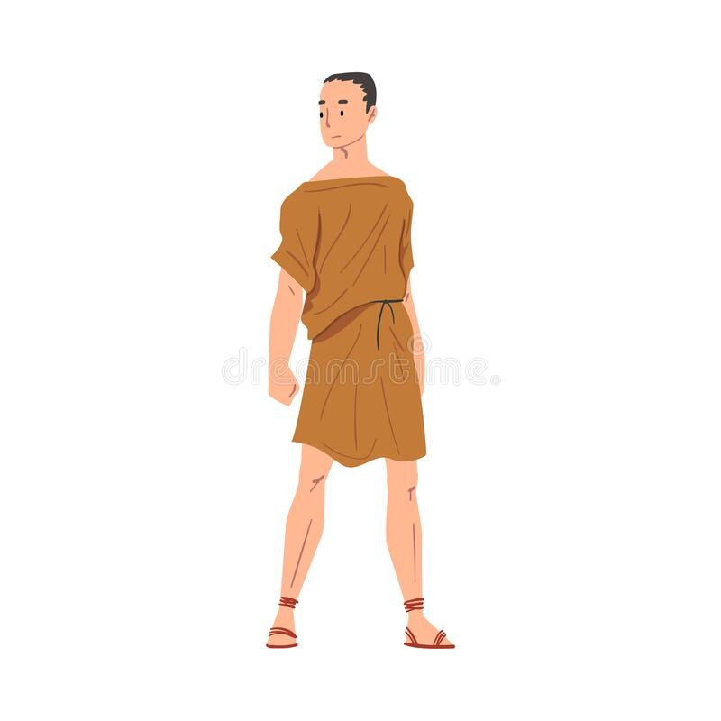 Free Roman Man In Traditional Clothes, Ancient Rome Plebeian Citizen Character In Tunic And Sandals Vector Illustration Stock Images - 192170164