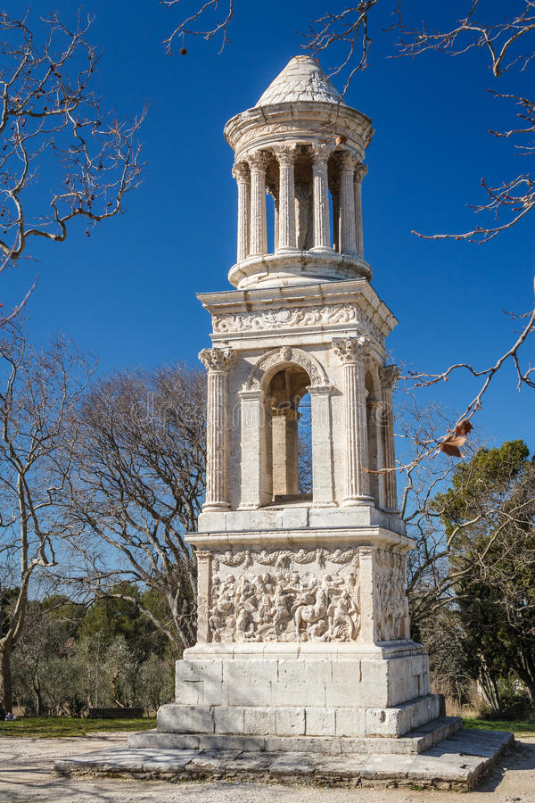 Roman mausoleum in the ruins of the ancient Glanum stock photos