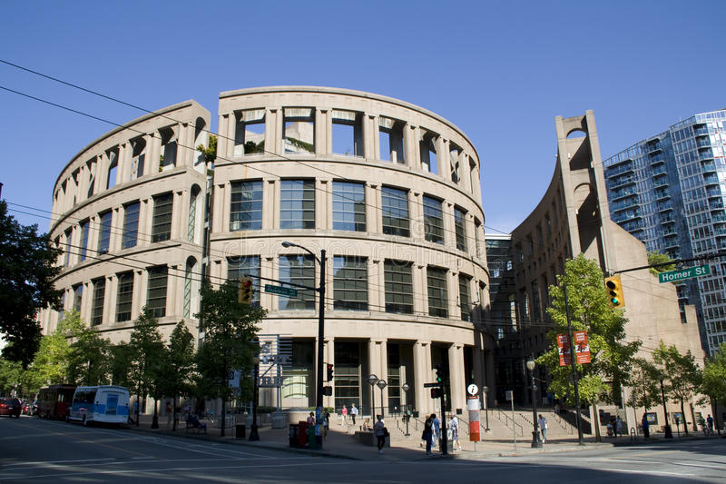 Roman and modern architecture at Vancouver Public Library BC royalty free stock image