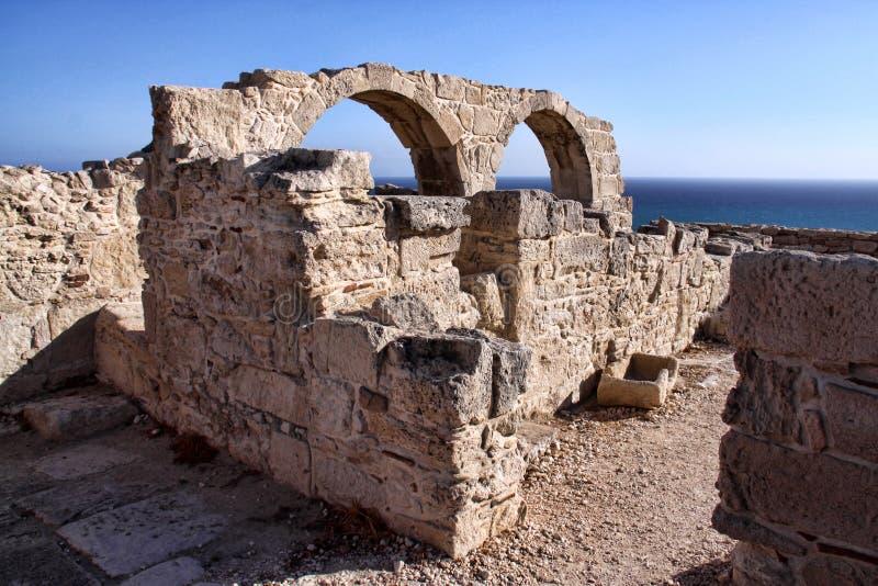 Roman monumenten Kourion, Cyprus stock afbeelding