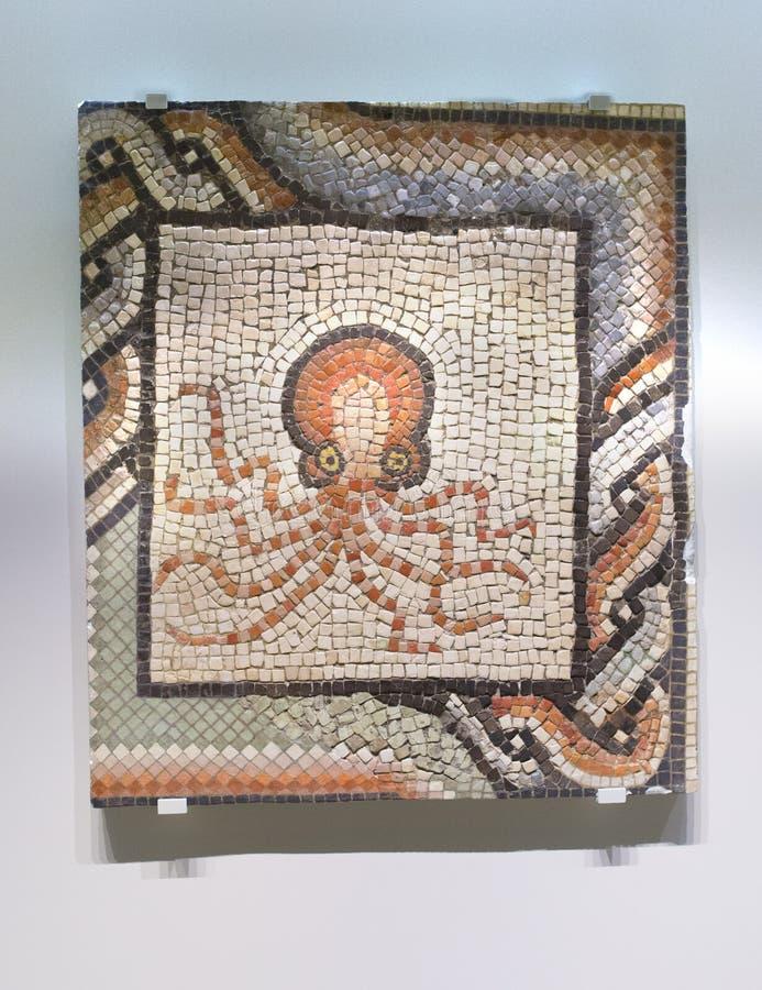 Roman Mosaic avec le poulpe photos libres de droits