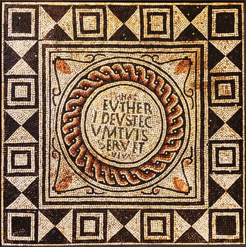Roman Mosaic dalla città persa di Pompei immagine stock libera da diritti