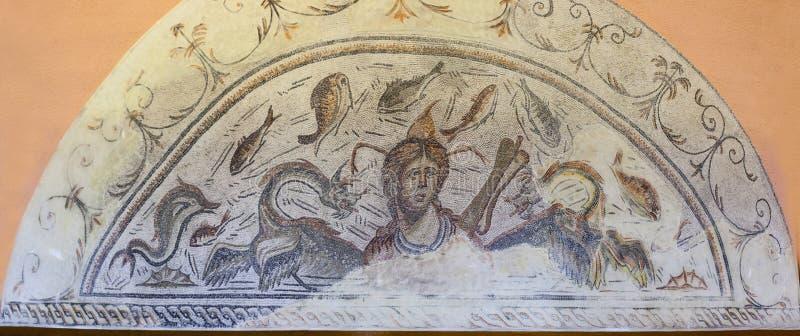 Roman Mosaic, der Meeresgöttin Tethys darstellt stockfoto