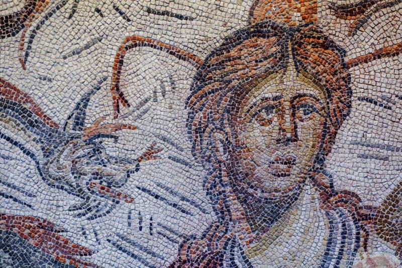 Roman Mosaic, der Meeresgöttin Tethys darstellt lizenzfreie stockfotografie