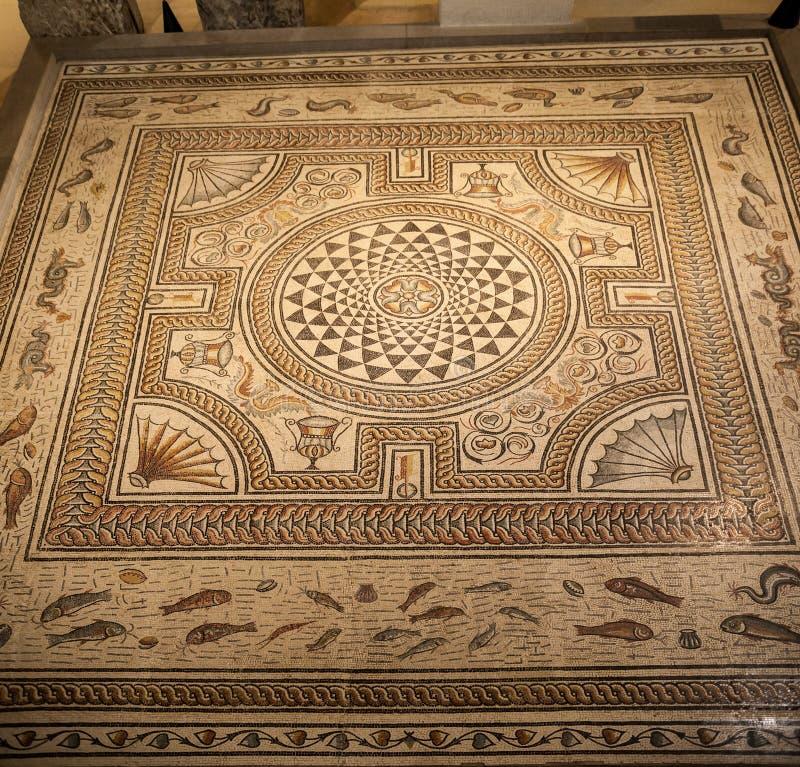 Roman Mosaic Lyon France fotografia stock libera da diritti