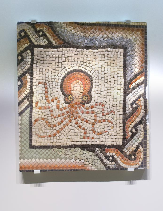 Roman Mosaic mit Krake lizenzfreie stockfotos