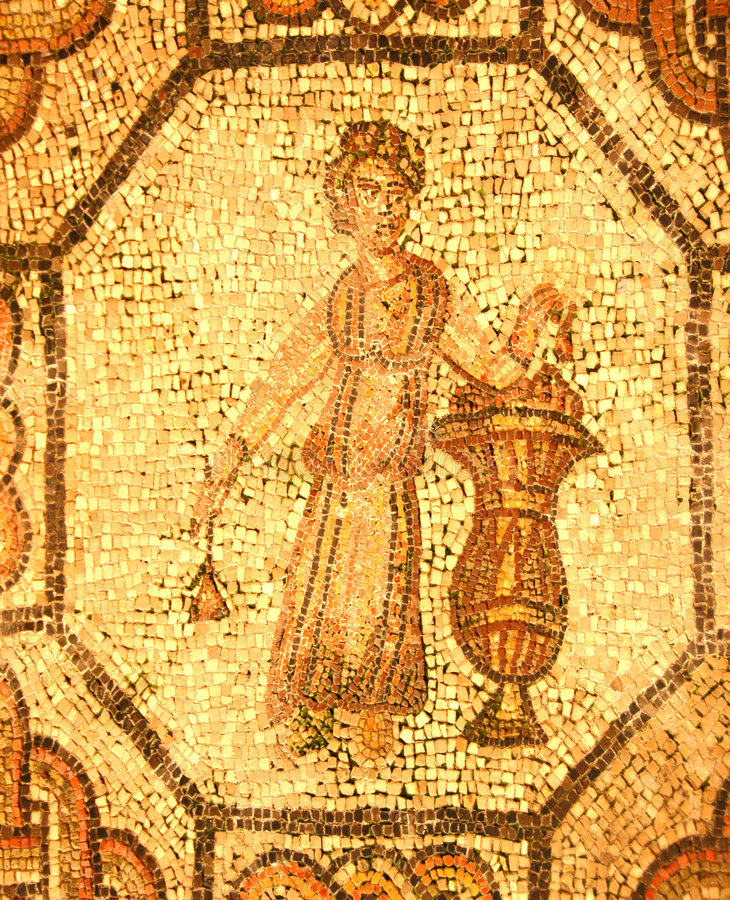 Roman mosaic of a person holding a rose stock photo