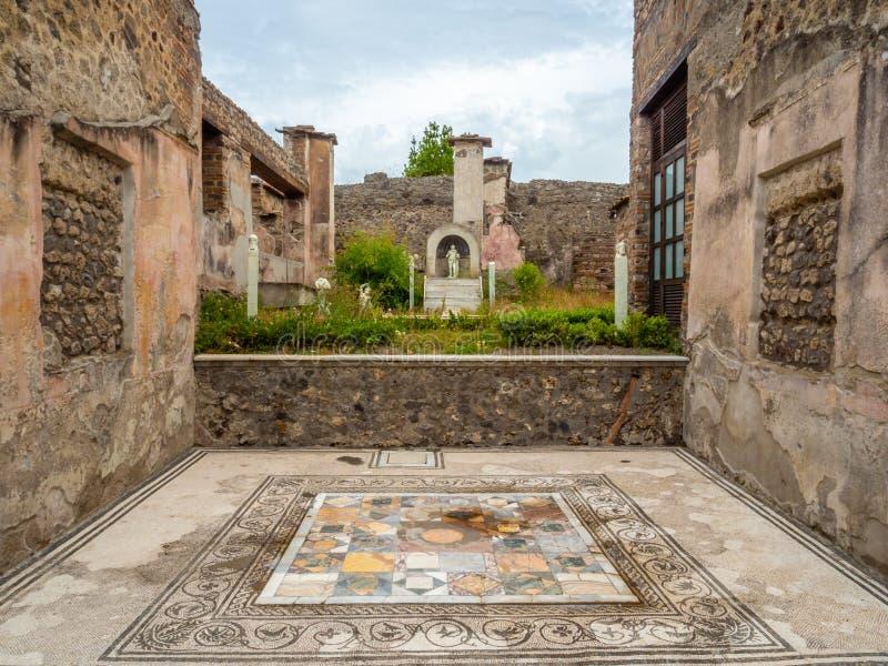 Roman mosaics in Pompeii, Italy. World Heritage List. Mosaic in ruined Roman villa in the ancient Roman city of Pompeii, near modern Naples in Italy. Pompeii royalty free stock photography