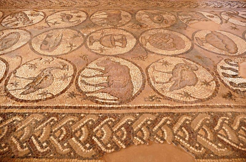 Roman Mosaics Ruins på den forntida bysantinska kyrkan i den borttappade staden av Petra, Jordanien royaltyfria foton