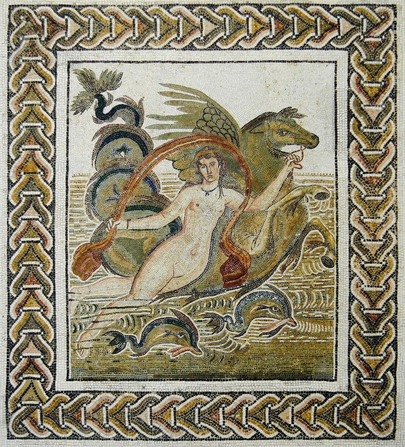 Roman mozaïek van de abductie van Europa stock afbeeldingen