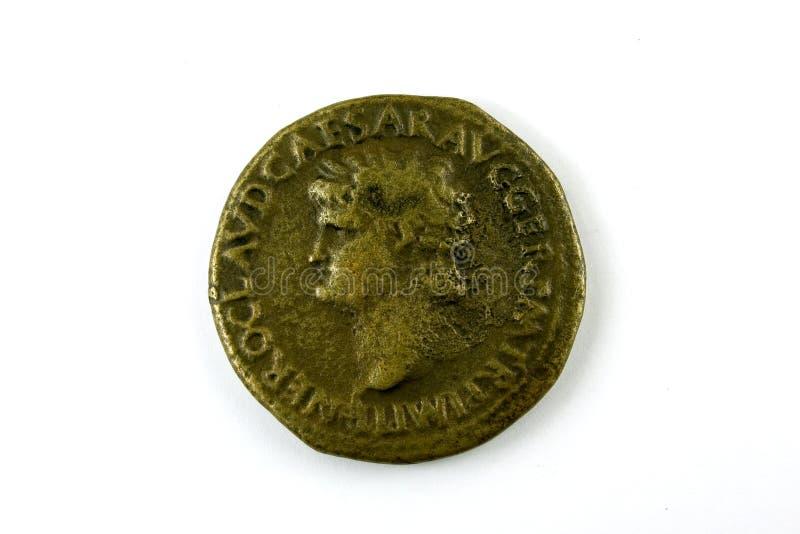 Roman muntstuk van Nero stock afbeelding