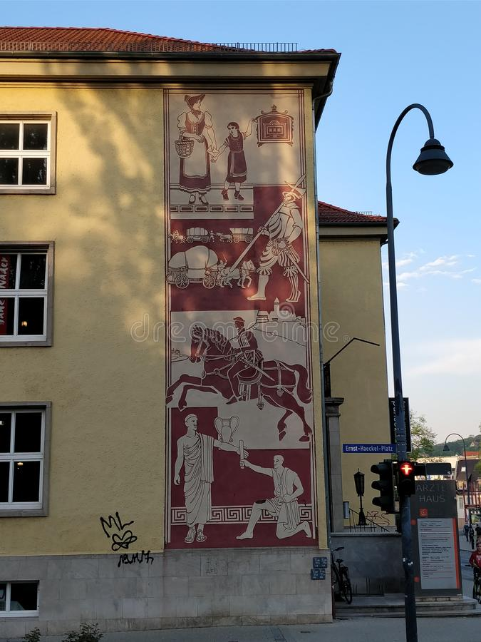 Roman mural street art germany stock photo