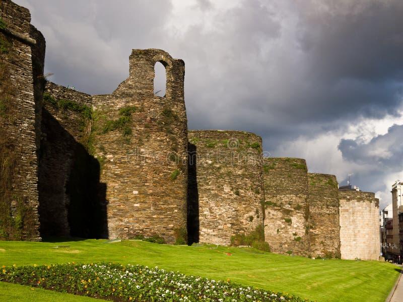 Roman muur van Lugo. De Plaats van de Erfenis van de wereld royalty-vrije stock afbeelding