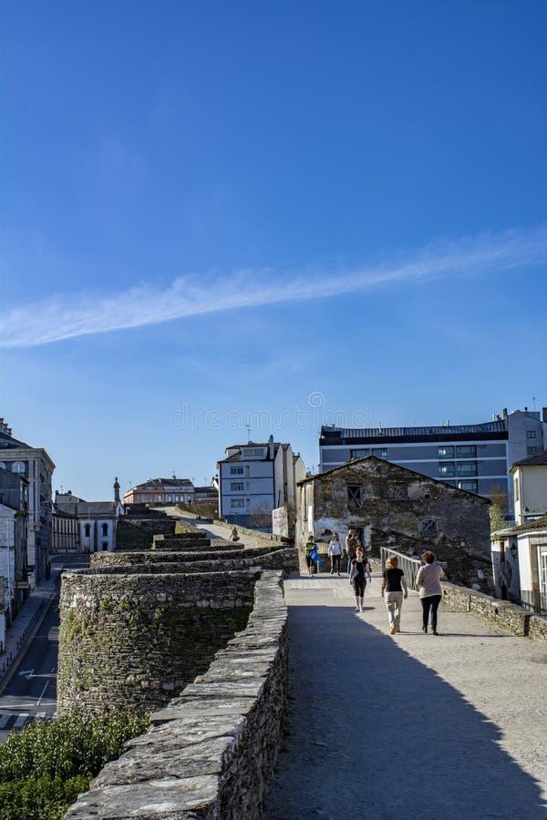 Roman muur van Lugo in Galicië spanje royalty-vrije stock fotografie