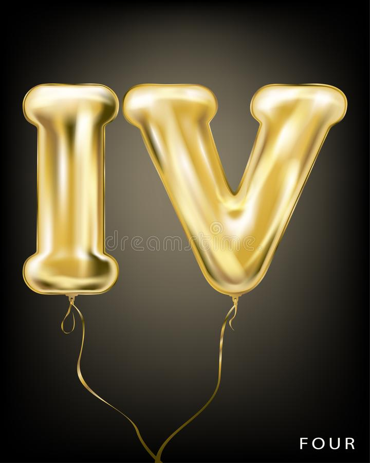Roman 4 number, gold foil balloon IV form. On the black background vector illustration