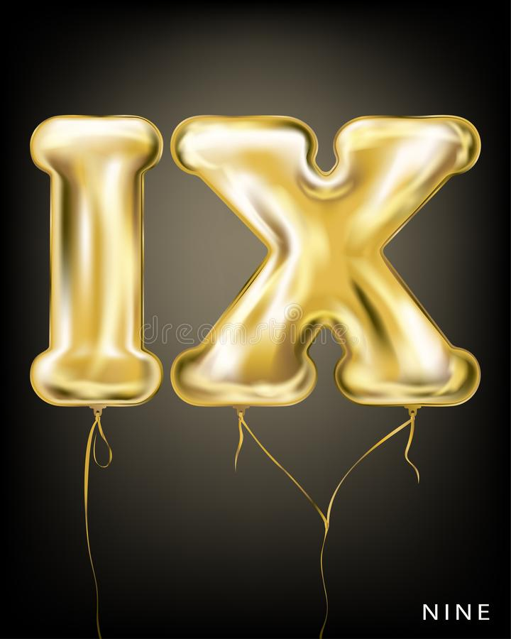 Roman 9 number, gold foil balloon IX form. On the black background royalty free illustration