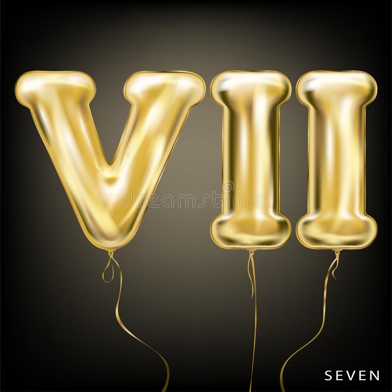 Roman 7 number, gold foil balloon VII form. On the black background royalty free illustration