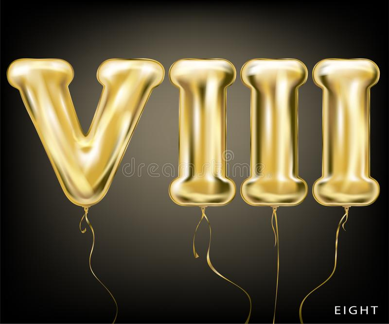 Roman 8 number, gold foil balloon VIII form. On the black background royalty free illustration