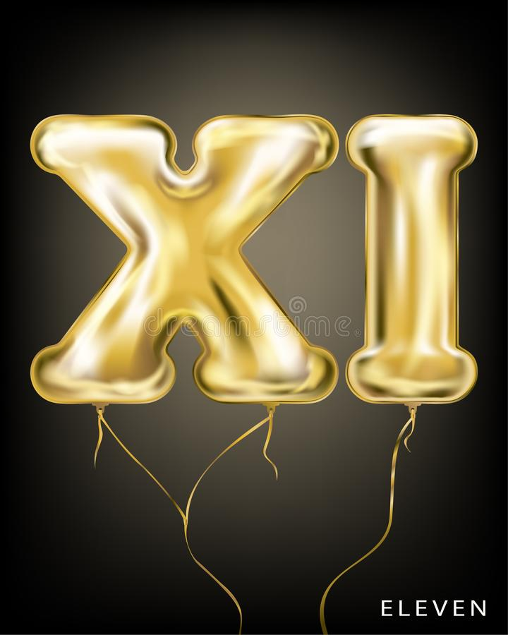 Roman 11 number, gold foil balloon XI form. On the black background royalty free illustration