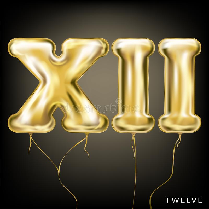 Roman 12 number, gold foil balloon XII form. On the black background royalty free illustration