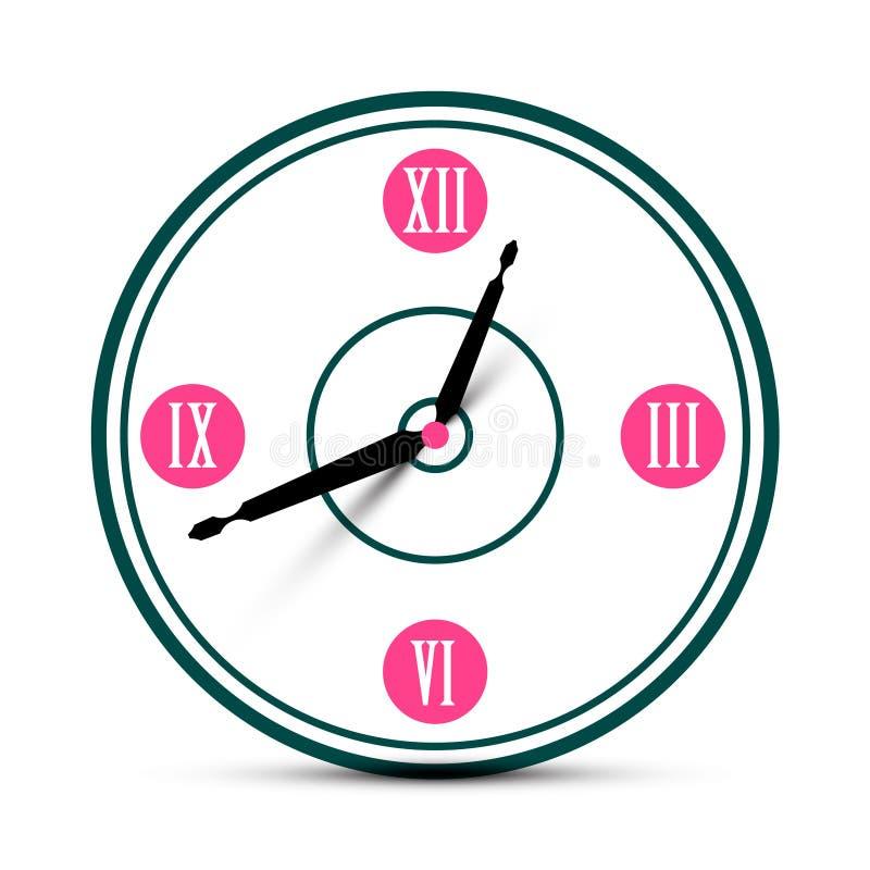 Roman Numeral Analog Clock Symbol moderno royalty illustrazione gratis
