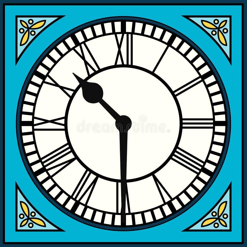 Roman Numeral Clock bij half voorbij Tien stock illustratie